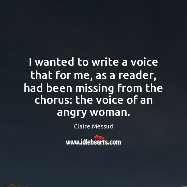 Image, I wanted to write a voice that for me, as a reader,