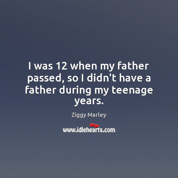 I was 12 when my father passed, so I didn't have a father during my teenage years. Ziggy Marley Picture Quote