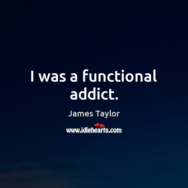 I was a functional addict. James Taylor Picture Quote