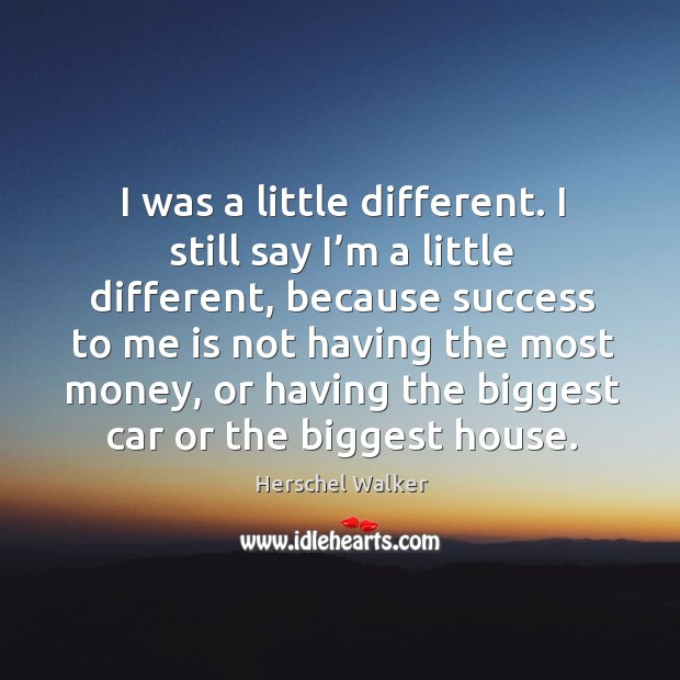 I was a little different. I still say I'm a little different, because success to me is not having Image