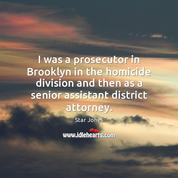 Image, I was a prosecutor in Brooklyn in the homicide division and then