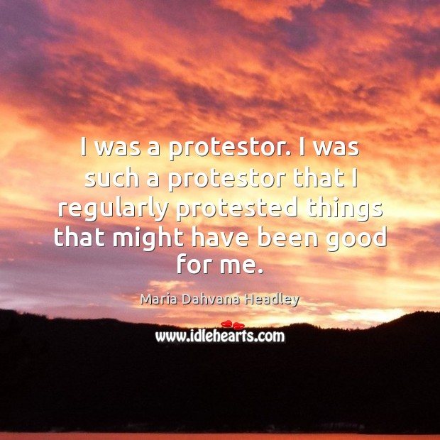 I was a protestor. I was such a protestor that I regularly Image