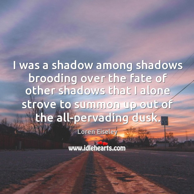 I was a shadow among shadows brooding over the fate of other Loren Eiseley Picture Quote