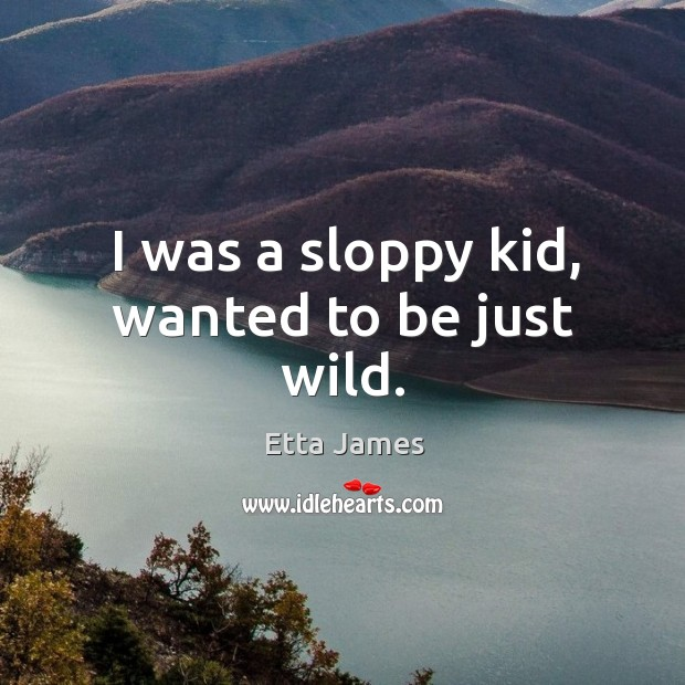 I was a sloppy kid, wanted to be just wild. Image