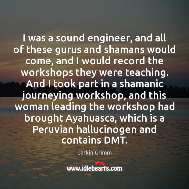I was a sound engineer, and all of these gurus and shamans Image