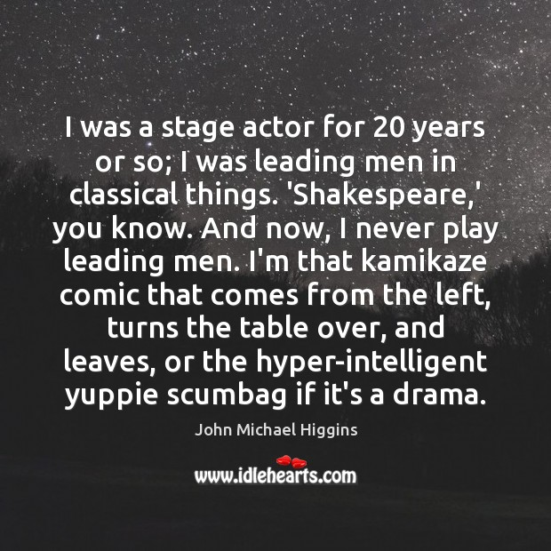 I was a stage actor for 20 years or so; I was leading Image