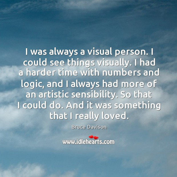 Image, I was always a visual person. I could see things visually.
