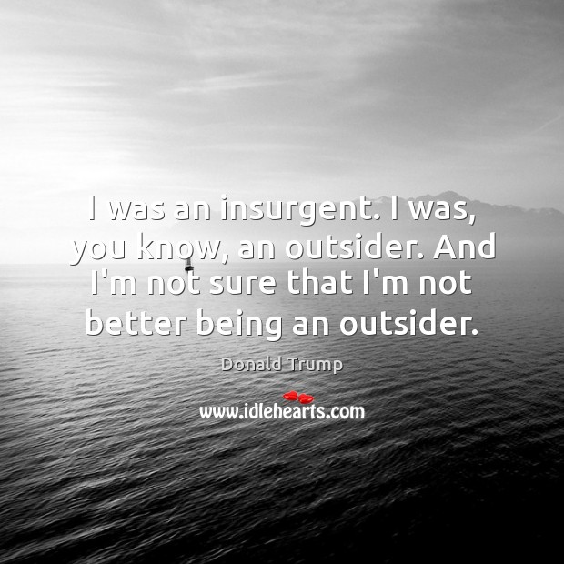 I was an insurgent. I was, you know, an outsider. And I'm Image