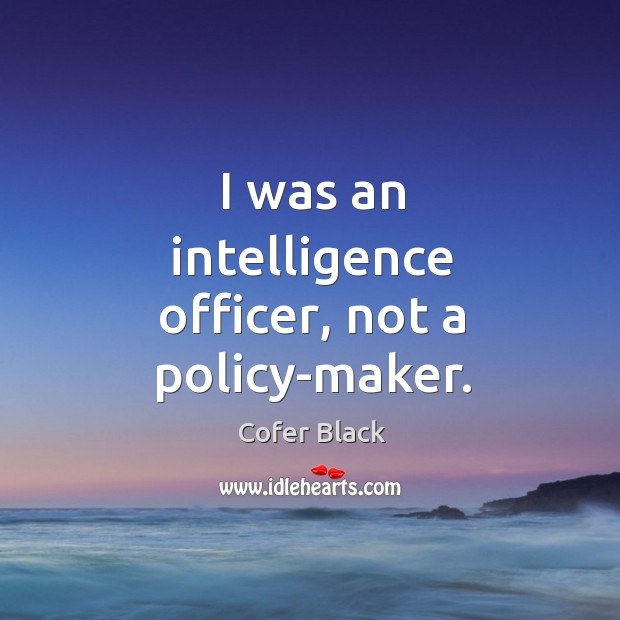 I was an intelligence officer, not a policy-maker. Image