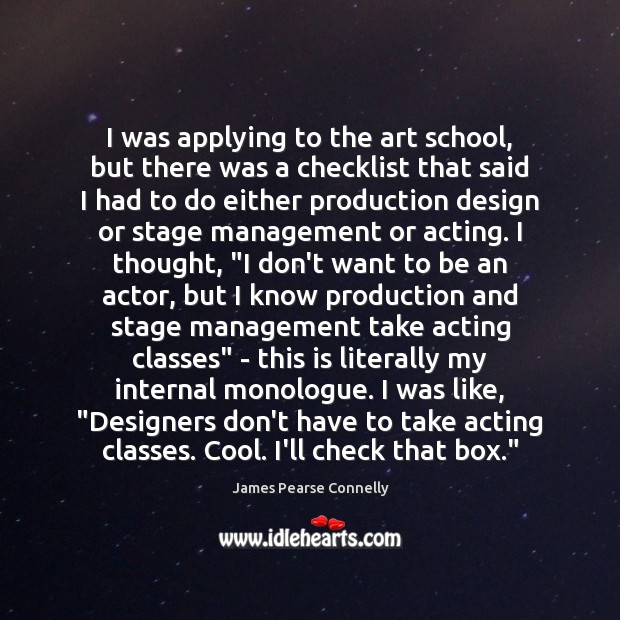 I was applying to the art school, but there was a checklist Image