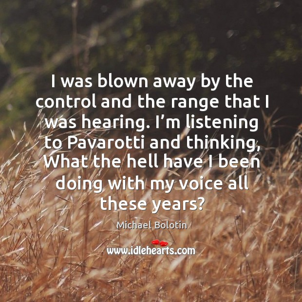 I was blown away by the control and the range that I was hearing. Michael Bolotin Picture Quote