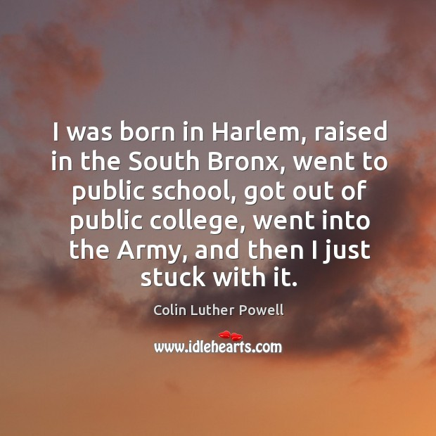 I was born in harlem, raised in the south bronx, went to public school, got out of public college Image