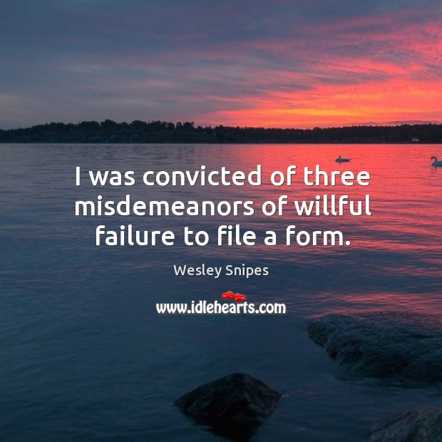 I was convicted of three misdemeanors of willful failure to file a form. Wesley Snipes Picture Quote