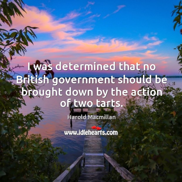I was determined that no british government should be brought down by the action of two tarts. Harold Macmillan Picture Quote