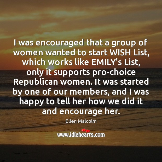 Image, I was encouraged that a group of women wanted to start WISH