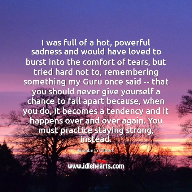 I was full of a hot, powerful sadness and would have loved Elizabeth Gilbert Picture Quote