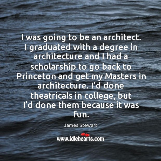 I was going to be an architect. I graduated with a degree in architecture and I had a Image