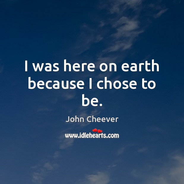 I was here on earth because I chose to be. John Cheever Picture Quote