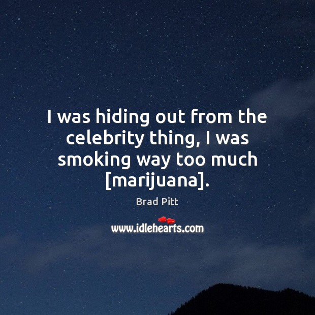 I was hiding out from the celebrity thing, I was smoking way too much [marijuana]. Image