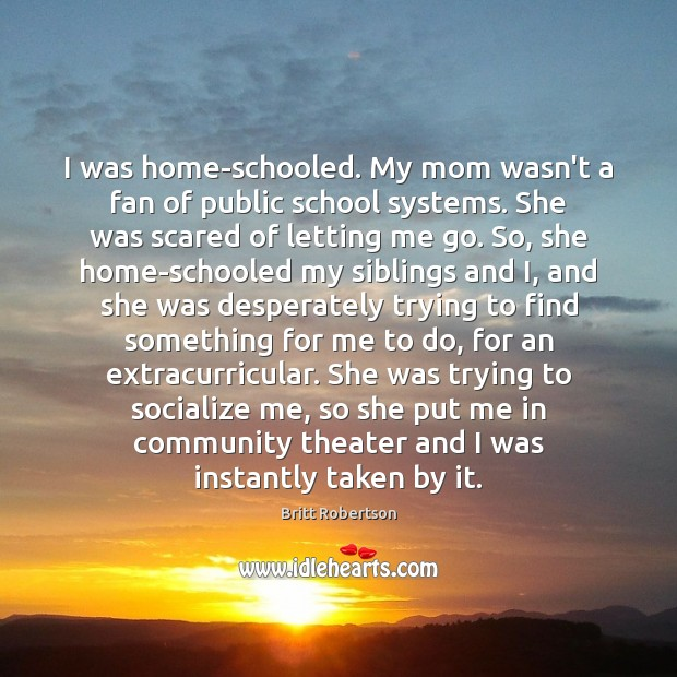 I was home-schooled. My mom wasn't a fan of public school systems. Image
