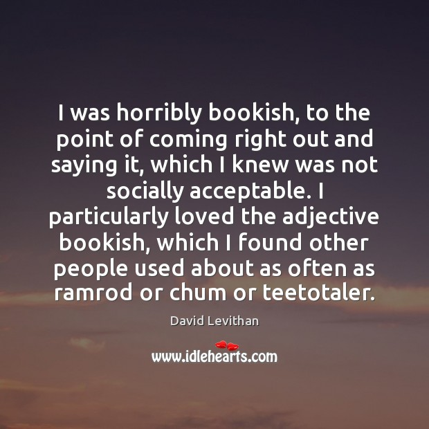 Image, I was horribly bookish, to the point of coming right out and