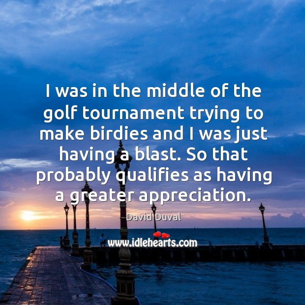 I was in the middle of the golf tournament trying to make birdies and I was just having a blast. David Duval Picture Quote