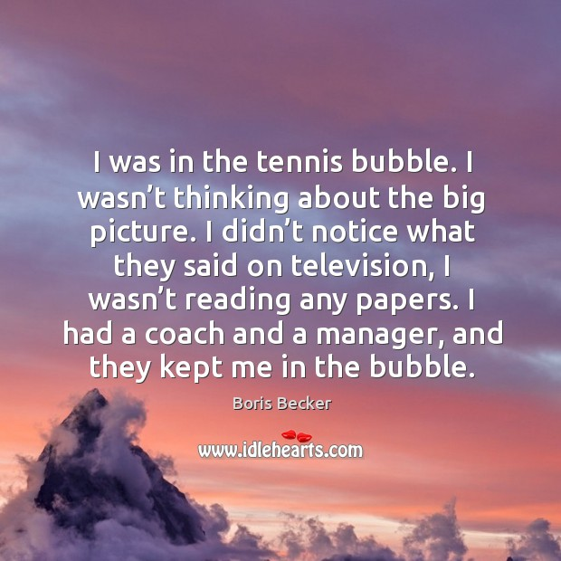 I was in the tennis bubble. I wasn't thinking about the big picture. Boris Becker Picture Quote