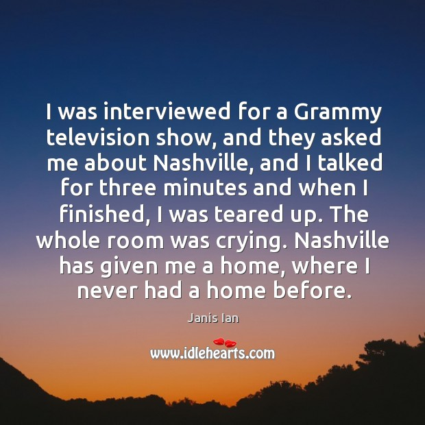 I was interviewed for a Grammy television show, and they asked me Image
