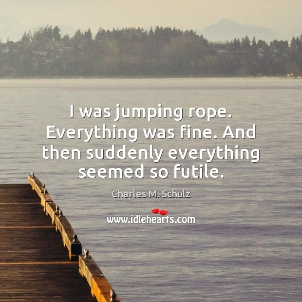 Image, I was jumping rope. Everything was fine. And then suddenly everything seemed so futile.