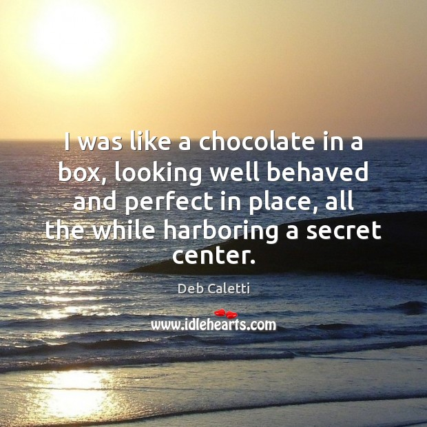 I was like a chocolate in a box, looking well behaved and Deb Caletti Picture Quote