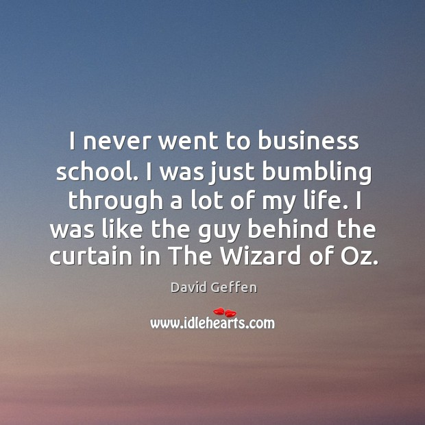 I was like the guy behind the curtain in the wizard of oz. David Geffen Picture Quote