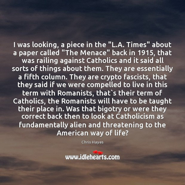 """Image, I was looking, a piece in the """"L.A. Times"""" about a"""