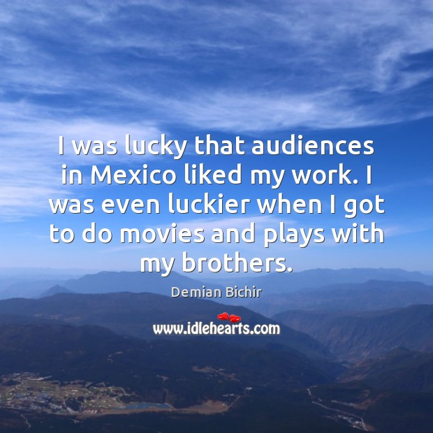 I was lucky that audiences in Mexico liked my work. I was Demian Bichir Picture Quote