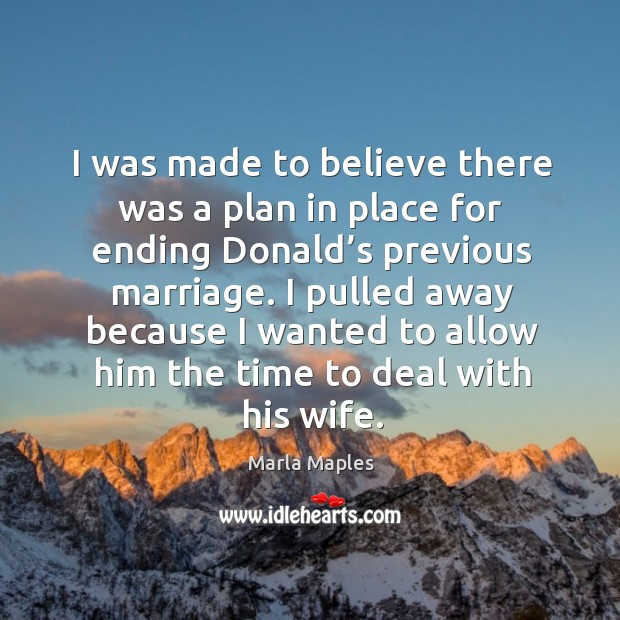 I was made to believe there was a plan in place for ending donald's previous marriage. Image