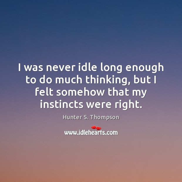 I was never idle long enough to do much thinking, but I Image