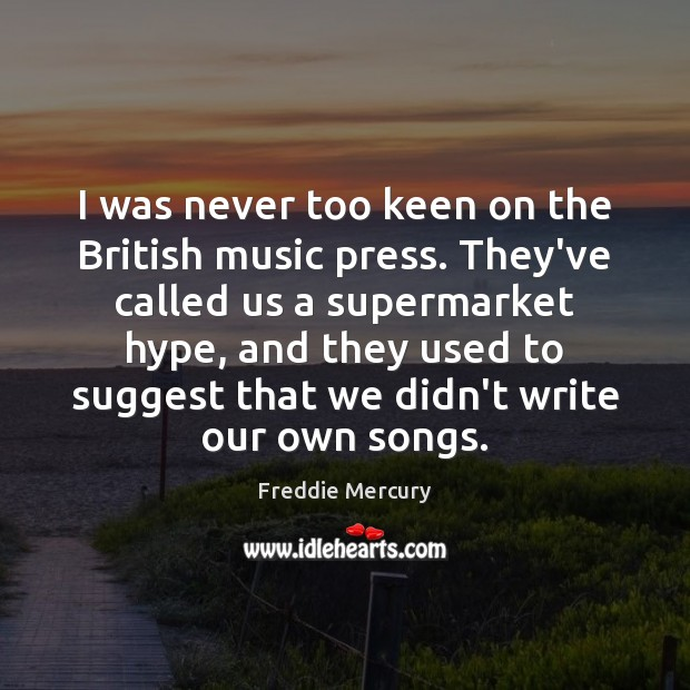 I was never too keen on the British music press. They've called Freddie Mercury Picture Quote