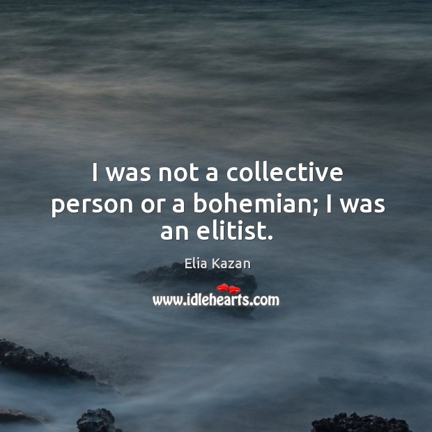 I was not a collective person or a bohemian; I was an elitist. Elia Kazan Picture Quote
