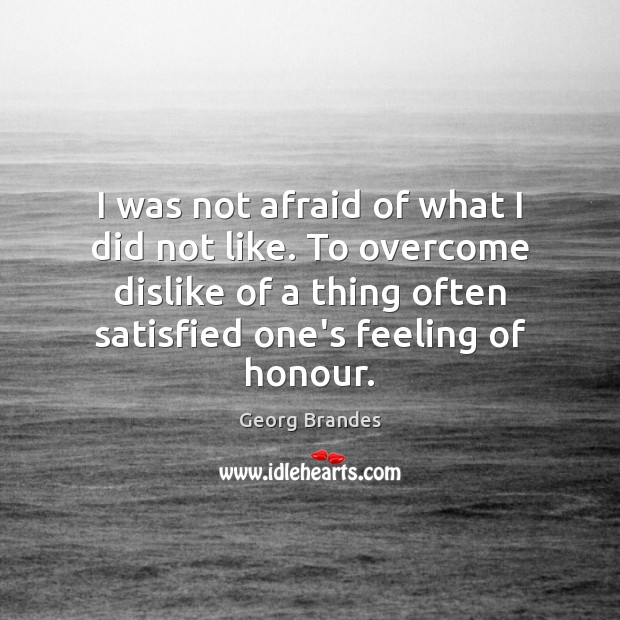 I was not afraid of what I did not like. To overcome Georg Brandes Picture Quote