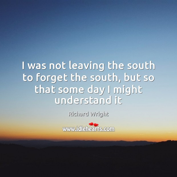 I was not leaving the south to forget the south, but so Image