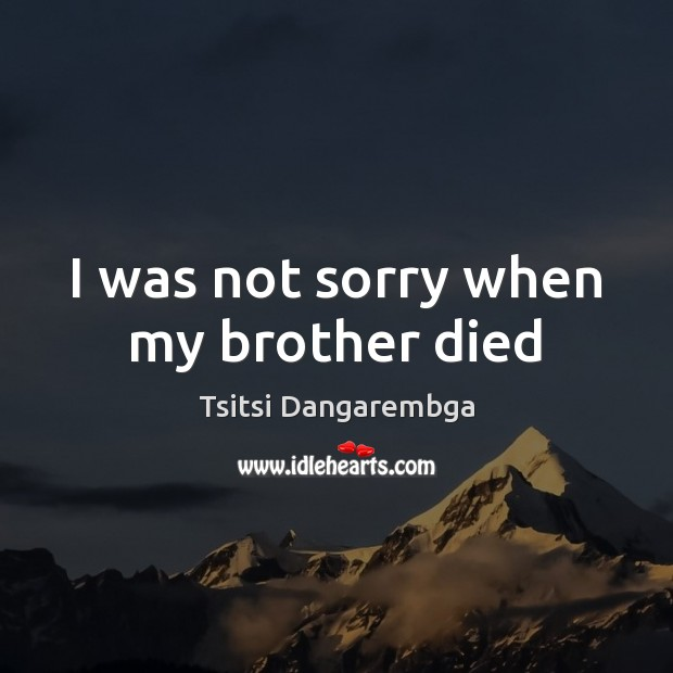 I was not sorry when my brother died Image