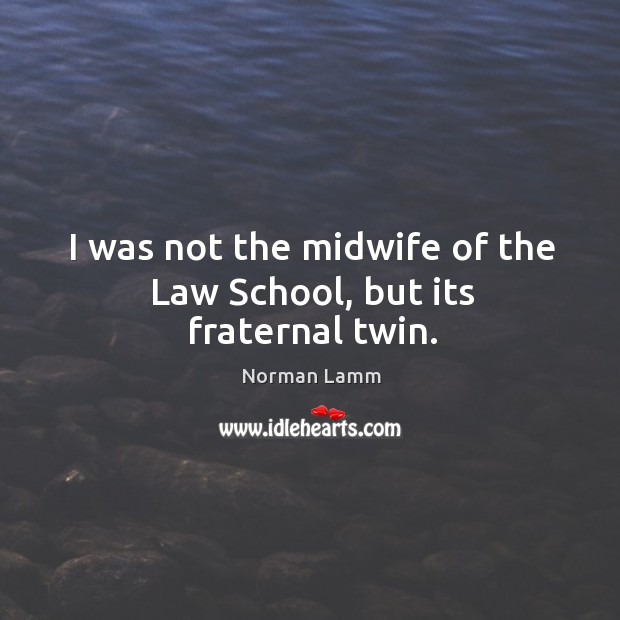 I was not the midwife of the law school, but its fraternal twin. Norman Lamm Picture Quote