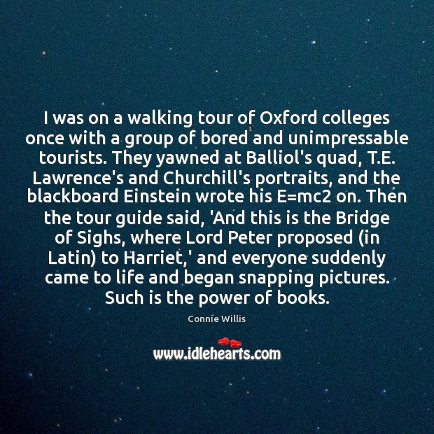 I was on a walking tour of Oxford colleges once with a Image