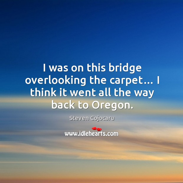 I was on this bridge overlooking the carpet… I think it went all the way back to oregon. Image