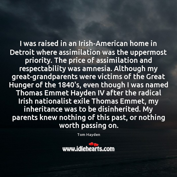 Image, I was raised in an Irish-American home in Detroit where assimilation was
