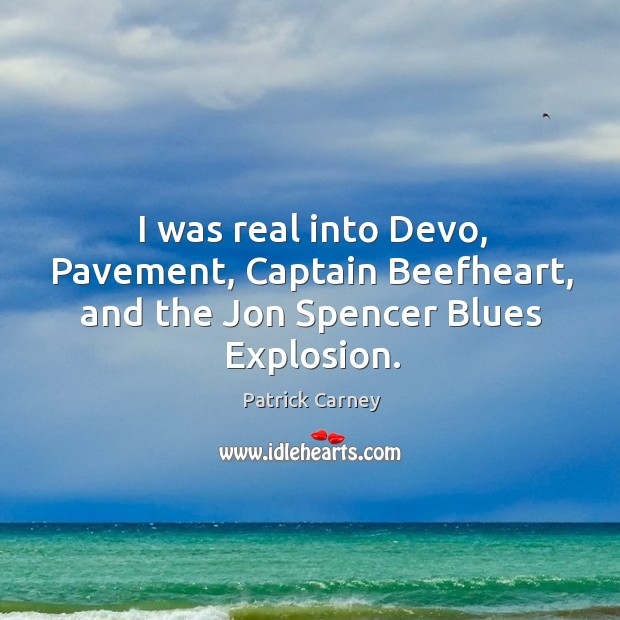 Image, I was real into Devo, Pavement, Captain Beefheart, and the Jon Spencer Blues Explosion.