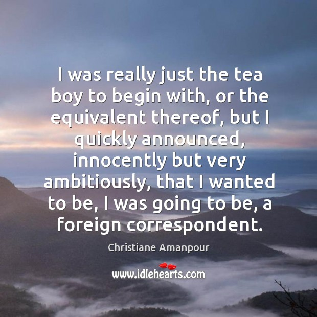 I was really just the tea boy to begin with, or the equivalent thereof, but I quickly Christiane Amanpour Picture Quote