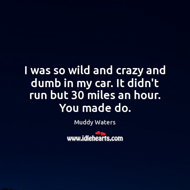 I was so wild and crazy and dumb in my car. It Muddy Waters Picture Quote