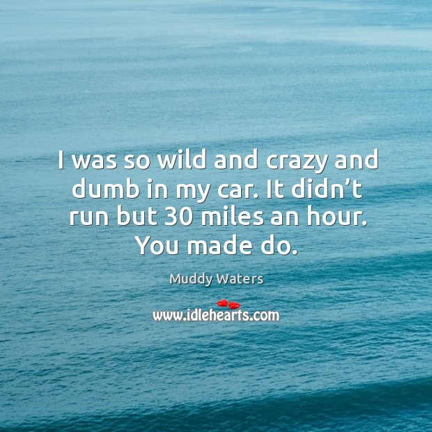 I was so wild and crazy and dumb in my car. It didn't run but 30 miles an hour. You made do. Muddy Waters Picture Quote