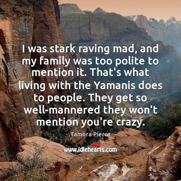 I was stark raving mad, and my family was too polite to Image