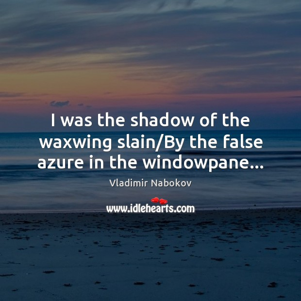 I was the shadow of the waxwing slain/By the false azure in the windowpane… Image